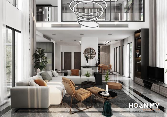 Kệ tivi phòng khách căn hộ Duplex