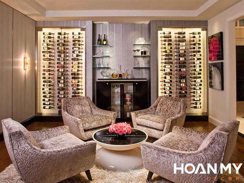 Mẫu tủ rượu âm tường phòng khách đẹp