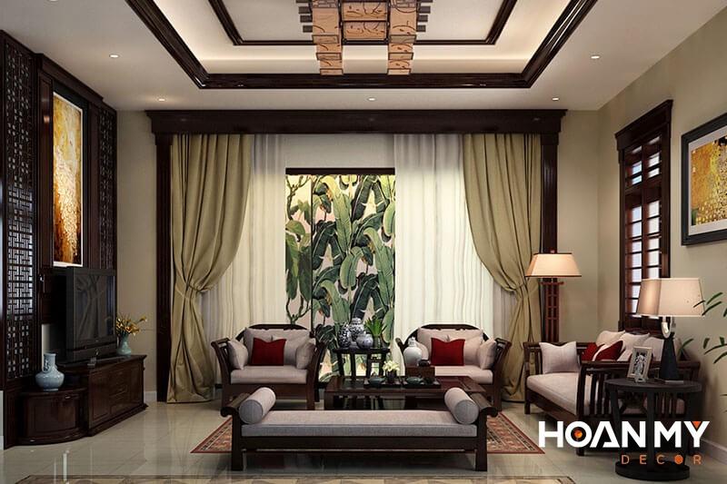 Trang trí phòng khách phong cách Indochine