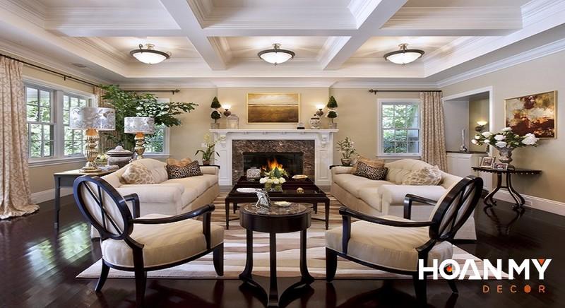 Trang trí phòng khách phong cách Tân cổ điển