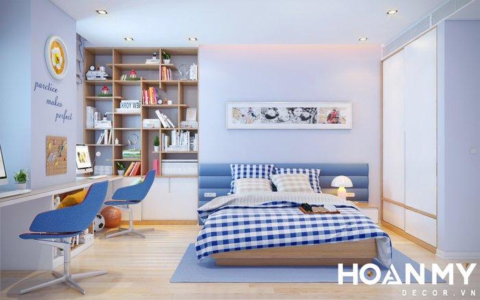 Phòng này được sử dụng cho 2 bé trai, với kích thước giường ngủ 1m8x2m và bàn học dài thoải mái cho 2 bạn nhỏ