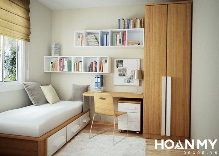 Trang trí kệ sách phòng ngủ