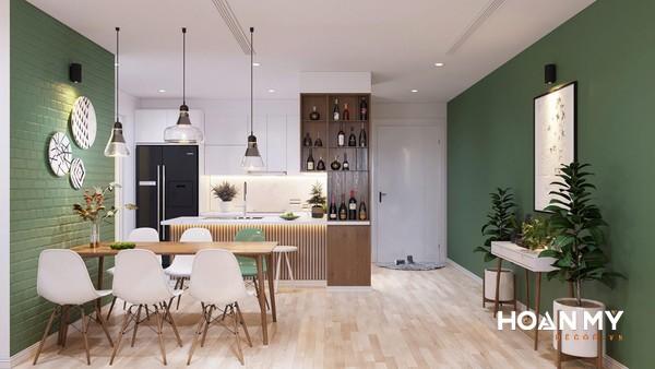 Tủ bếp và quầy bar thiết kế hiện đại