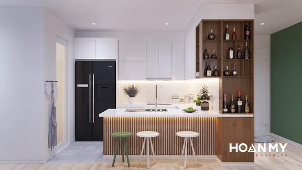 Gỗ sồi rất thích hợp với những không gian nhỏ như chung cư, bởi đặc tính màu sắc sáng khiến căn phòng trông rộng hơn
