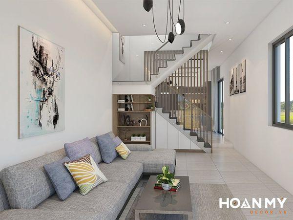 Phòng khách nhà ống 5m có cầu thang đẹp - Mẫu 7