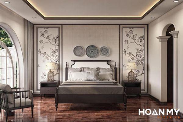 Ở thiết kế này chúng tôi đã lựa chọn gam trắng làm màu sắc chủ đạo. Với tone màu nhẹ nhàng này những chi tiết kẻ viền chạy dọc trên trần tường hay vòm cửa đậm chất indochine sẽ phô ra được hết vẻ đẹp của mình.