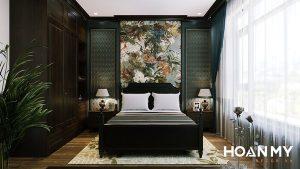 Phòng ngủ phong cách Indochine đặc trưng hoa văn tinh tế sang trọng