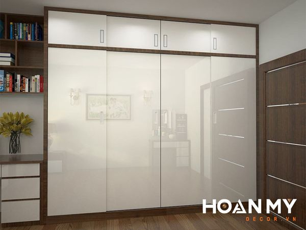 Tủ quần áo 4 cánh kiểu Hàn Quốc gỗ Acrylic bóng gương An Cường