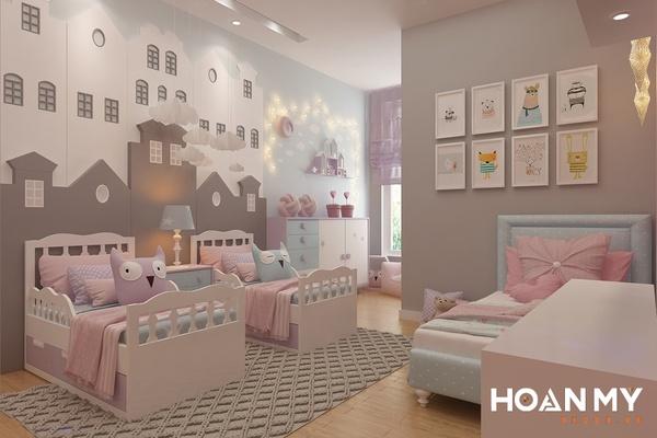 Phòng ngủ chung cho bé trai và bé gái dễ thương