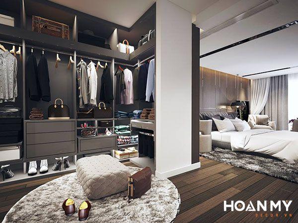 Tủ được thiết kế đồng bộ với giường ngủ, cùng tone màu chủ đạo của căn phòng