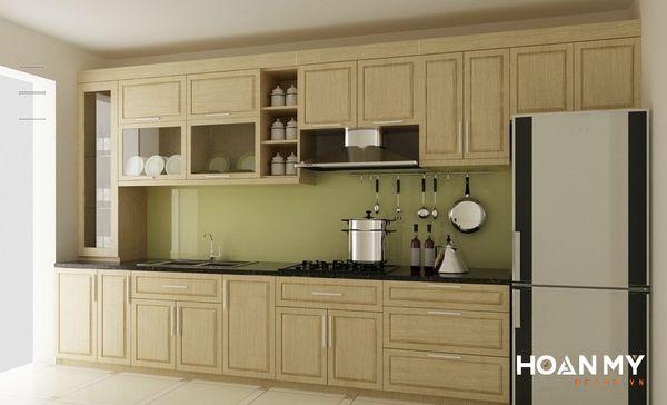 Tủ bếp âm tường gỗ tự nhiên