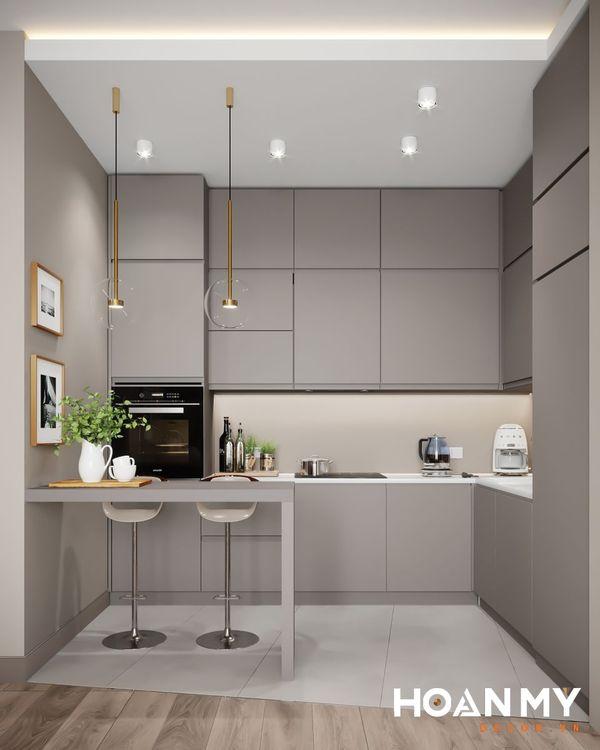 Tủ bếp màu ghi xám - Hình ảnh 1