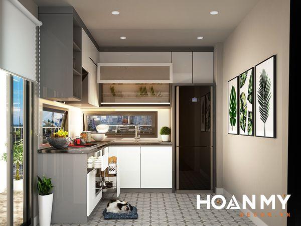 Tủ bếp màu ghi xám - Hình ảnh 2