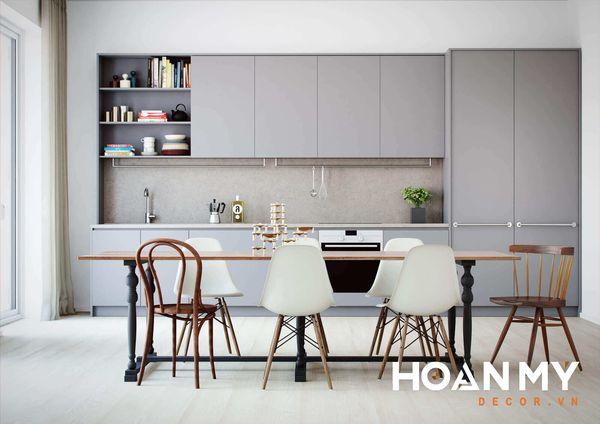 Tủ bếp màu ghi xám - Hình ảnh 11