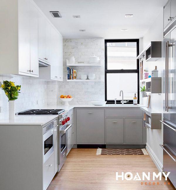 Tủ bếp màu ghi xám - Hình ảnh 12