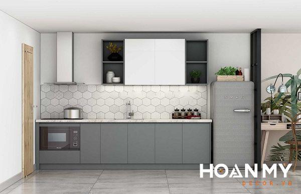 Tủ bếp màu ghi xám - Hình ảnh 16