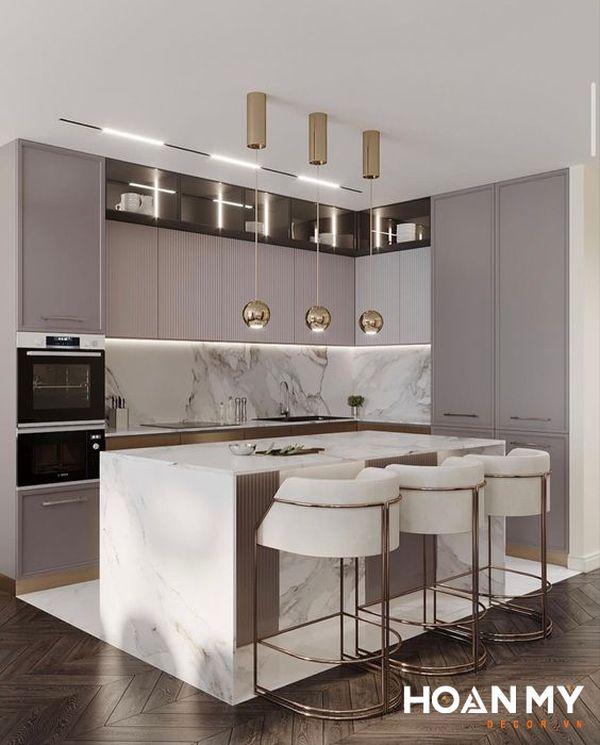 Tủ bếp màu ghi xám - Hình ảnh 22