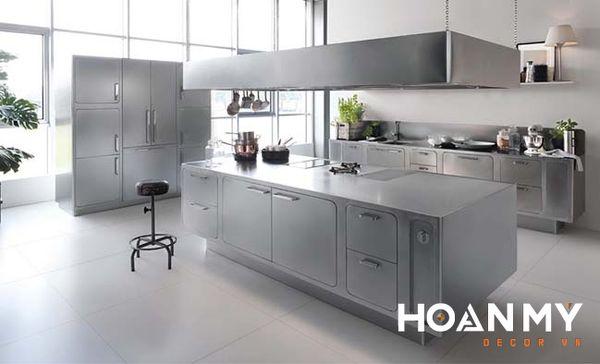 Tủ bếp màu ghi xám nhạt - Mẫu 2