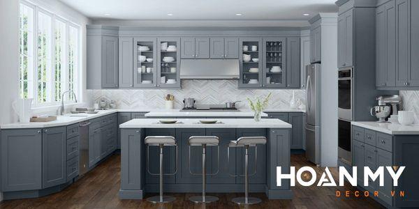 Tủ bếp màu xám xanh - Mẫu 2