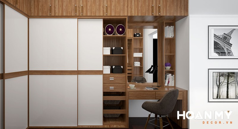 Mẫu này bạn sẽ thấy tủ quần áo được kết hợp với bạn làm việc, bàn trang điểm vô cùng hợp lý - Mẫu 4