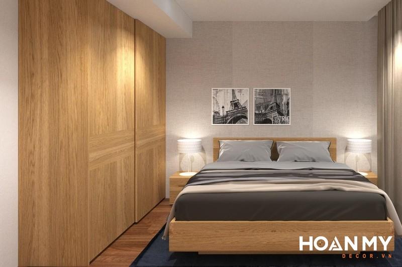 Tủ quần áo âm tường gỗ công nghiệp phủ Veneer Sồi cao cấp - Mẫu 2